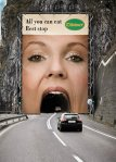 This ambient advertisement campaign was launched by Oldtimer restaurants, a leading Austrian chain of motorway rest stops. The campaign aims at enticing people to take a halt at the restaurant to which provides almost everything that one can eat. The huge poster was placed at the entrance of a tunnel at the highway that gave impression that vehicles going inside is disappearing into the woman's mouth appearing on the poster.